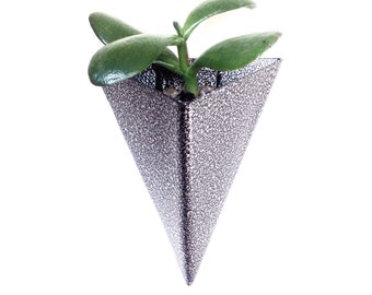 Modern Triangular Indoor/Outdoor Succulent Wall Planter, Powder Coated Finish