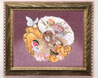 Gucci pop surrealism fashion illustration hippie lucky cat ORIGINAL (framed)