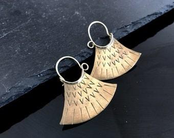 African earrings, authentic handcrafted earrings, artisan brass dangle earrings, African vintage earrings, statement earrings