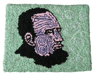 Rag Rug Handmade Artisanal Fabric Contemporary Textile Tattoo Green Cartoon
