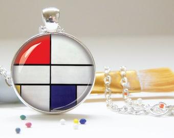 MONDRIAN pendant,  art necklace, fine art pendant, jewelry, silver