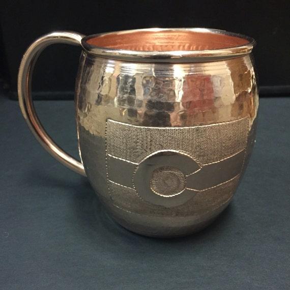18 Oz Moscow Mule Hammered Copper Barrel Mug With Colorado