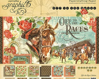 """Free shipping Graphic 45 """"Off to the Races"""" 12 x 12 Pad"""