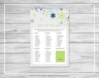 Winter Baby Shower What's In Your Purse Game - Printable Baby Shower What's In Your Purse Game - Baby It's Cold Outside Baby Shower - SP142