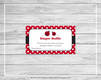 Ladybug Baby Shower Diaper Raffle Insert - Printable Baby Shower Diaper Raffle Cards - Ladybug Baby Shower - Diaper Raffle Cards - SP140