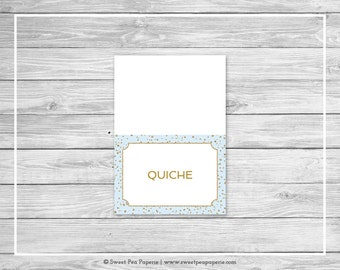 Blue and Gold Baby Shower Buffet Labels - Printable Baby Shower Buffet Labels - Blue and Gold Confetti Baby Shower - EDITABLE - SP146