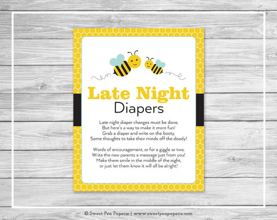 Bumble Bee Baby Shower Late Night Diapers Sign