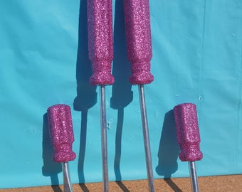 Glitter Screwdriver Set, Screwdrivers, Pink Screwdriver Set, Pink Tools, (Your Choice of Color)