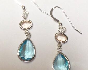 Aqua Blue and Champagne Earrings, Bridal Jewelry, Drop Earrings, Dangle Earrings, Bridesmaid Jewelry