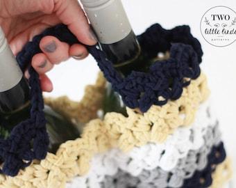 Crochet Pattern, LILLY WINE TOTE, crochet wine bag, crochet wine tote, wine carrier, hostess gift, housewarming gift, wine bag, wine cozy