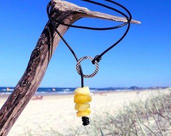 Baltic Amber Leather Necklace, Lariat And Y Necklace, Yellow Amber Necklace, Choker