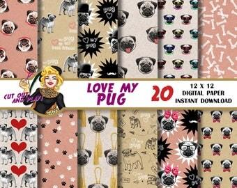 Pug digital paper, Pug scrapbook, dog, dog paw, card, animal paper, Scrapbooking Paper, dog patterns, backgrounds, decorations, hipster