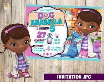 Doc McStuffins Invitation, Doc McStuffins Party, Doc McStuffins Birthday Invitation, Girl Doc McStuffins Invitation