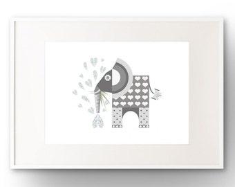 A3 Elephant Art Print
