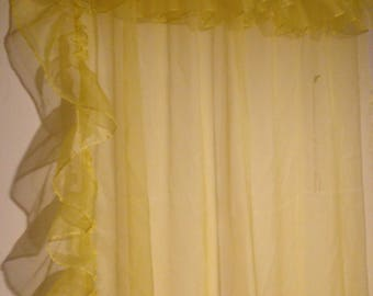 Sheer Lemon YELLOW Ruffled Curtains 48 x 82 inches