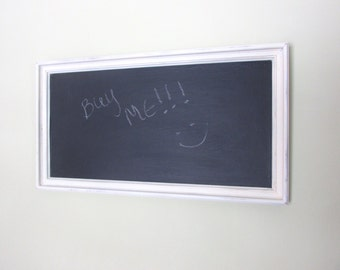Large, Antique White, Picture Frame Chalkboard, Daily Affirmations & Memo Board, Menu Board, Rustic Wedding, Chalkboard