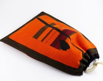 Wrap African motif, cotton lining, closing slide, feminine fabric pouch, bag doubled cotton, cause ethnic, tote bag