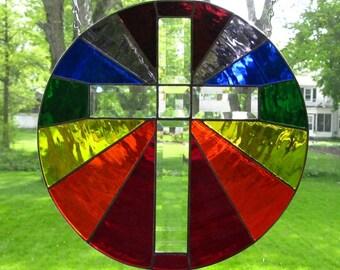 "THE GREAT PROMISE, Inspiring Stained Glass Suncatcher / Panel / Window, 7 Color Rainbow, Beveled Cross, 16"" Diameter U.S. Artist Made ©2017"