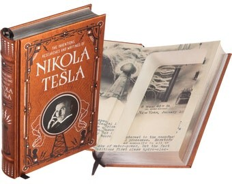 Hollow Book Safe - Nikola Tesla, The Inventions Researches and Writings of (Leather-bound) (Magnetic Closure)