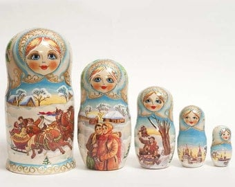 Nesting dolls Russian Winter Scenes - #101bb