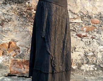 Wrap Skirt Layered Raw Cotton Deconstruted Lace Layered Wrap Long Skirt Distressed Black Cotton Wrap Skirt Raw Edged Fairy Pixie Elven Skirt