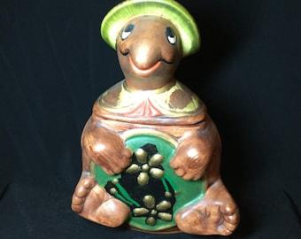 California Pottery Turtle Cookie Jar, Cookie Jar, Vintage Cookie Jar, Kitchen Jar, Biscuit Jar, Novelty Cookie Jars, Vintage Kitchen Decor