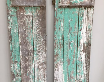 Chippy Antique Rustic Salvaged Pair of Shutters with Original Hardware