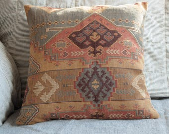 Oriental throw pillow, handmade rug pillow, faded oriental rug pillow,  eco friendly housewarming gift or wedding gift, boho home decor