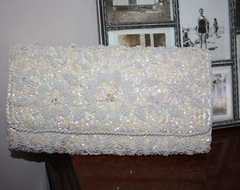Glam White Beaded, Sequined Vintage Clutch / Purse