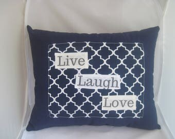 wedding gift, home decor pillow, words on pillows, live laugh love decorations, blue home decor, quotes on signs, family signs