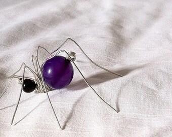 Beaded spider, wire spider, violet spider, artificial spider, spider, insect art, gothic art decor, spider gift, spider decoration, violet