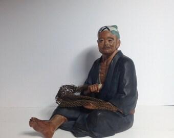 Vintage Hakata Urasaki Clay Fisherman/1950s HAKATA URASAKI DOLL Fisherman with Foil Label/Japanese Hakata Doll/Hakata Urasaki Clay Figurine