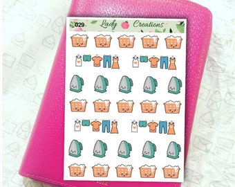 029 | LAUNDRY DAY washing and ironing Sample Mixed  - Planner Stickers