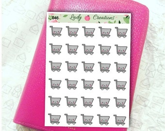 046C | Food Grocery Shopping Trolley - Planner Stickers
