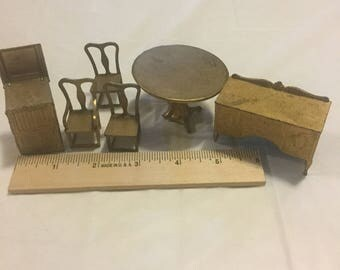 Dollhouse furniture Miniature Tootsie Toy metal 6-pc furniture