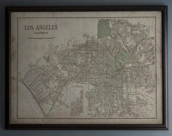 Los Angeles Map: Vintage Map of Los Angeles, California - Circa 20th C. - Weathered Map