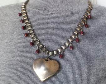 Vintage, necklace, bookchain, puff heart, Czech beads, choker, pendant, OOAK, repurposed, upcycled, assemblage