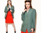 oversized jacket vintage blazer green jacket wool jacket classy blazer wool green blazer classy vintage loose 90s xxl extra large plus size
