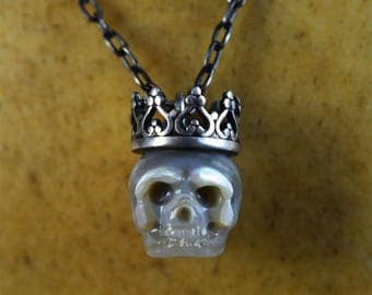 Grey Hand Carved Pearl Skull Wearing Sterling Silver Crown Pendant - Skull Jewelry - Pearl Necklace - Mother's Day - Mother's Day Necklace