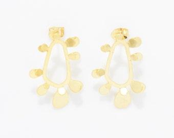 Flower Post Earring . Wedding Earring . Bridal Earring . 925 Sterling Silver Post . 16K Matte Gold over Brass - 2pcs / IA0015-MG