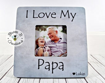 Personalized Papa Picture Frame, I Love My Papa, Grandpa Frame, Gift for Papa, Birthday Gift for Dad, Grandfather, Grandpa Grandson Gift