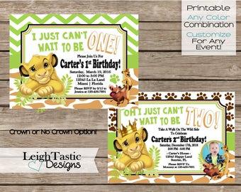Printable Invitation, Simba Birthday, Lion King Invitation, Lion Guard, Simba Baby Shower, Lion King Birthday Invite, Safari Party, Invite