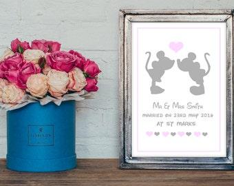Disney inspired personalised  wedding print-engagment gift - wedding gift