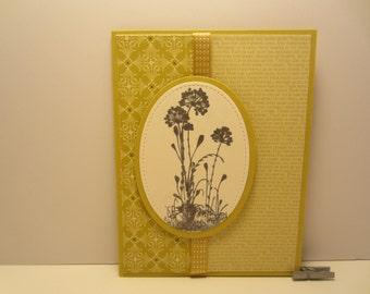 Layered Oval Flowers with Ribbon Blank Card
