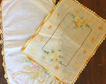 Pair Of Small Table Runners / Vintage Linens / Hand Embroidered / Doily