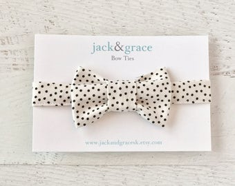 Baby Bow Tie- Cream and Black-Polka Dot- Bow Tie- Modern Bow Tie