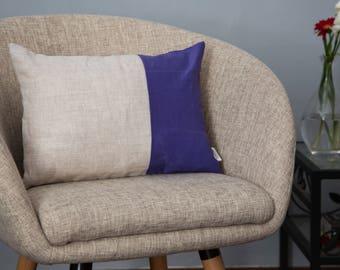 Pillow Striped Violet- Lumbar pillow linen - Pillow Sand and Violet -Modern home decor-stripes- Decorative throw pillow-Summer Edition