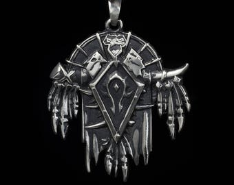 Horde Pendant, World of Warcraft, WoW, sterling silver or white bronze, handmade