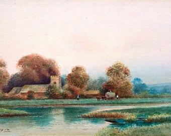 Loading Hay Indistinctly Signed Original Antique English Watercolour Painting Farm Landscape Rural Scene