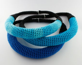 Crochet blue necklace, Unique necklace, Statement jewelry, Yarn jewellery
